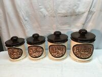 Vintage 1978 Ceramic Art Pottery Kitchen Canister Set Homestead Country Cottage
