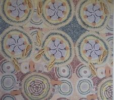 Sweet Potato Ecru Australian Aboriginal Fabric Patchwork Quilting Craft FQ Metre