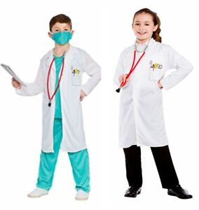 Childrens Doctor Costume Boys Girls Roleplay Occupations Fancy Dress Outfit DR