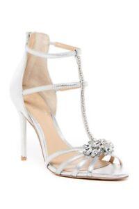 Jewel Badgley Mischka Women's Hazel Embellished T-Strap Sandal Size 8 Silver