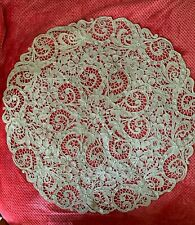 Antique French Handmade Bobbin lace & Needle work Tablecloth 117cm diameter