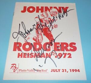 Nebraska Huskers Johnny Rodgers Signed Autographed 1994 Program Heisman Rare JSA
