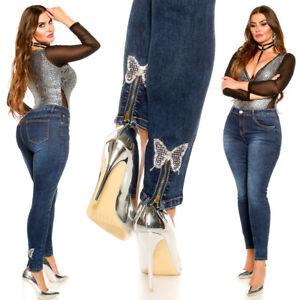 Jeans donna blu elasticizzato taglie curvy caviglia farfalla strass zip nuovo #