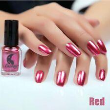 6ml Rose red Metal Nail Polish Mirror Effect Chrome Varnish Manicure Nail Art