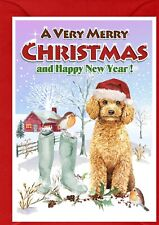 """Poodle (Apricot) Dog A6 (4""""x 6"""") Christmas Card (Blank inside) - by Starprint"""