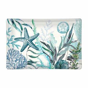 Michel Design Works Glass Trinket / Soap Dish Ocean Tide Sea Life Blue Aqua