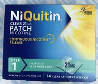 NiQuitin Clear 21mg Patch 14x Clear Patches (2 Week Kit) Quit Smoking EXP 06/19