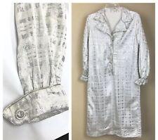 Vintage Silver Mod Dress Minimalist Sheath Glam Rhinestone Metallic M/L