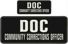 DOC COMMUNITY CORRECTIONS OFFICER EMBROIDERY PATCHES 4X10 &2X5  hook on back