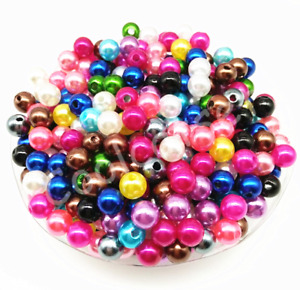 6mm 8mm 10mm Mixed Color Acrylic Round Pearl Spacer Loose Beads DIY Jewelry