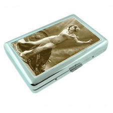 Vintage Gypsy Woman D10 Silver Metal Cigarette Case RFID Protection Wallet