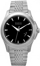 Gucci YA126210 Timeless Black Dial Automatic Stainless Steel Watch - NEW IN BOX