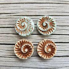 Rustic Ancient Snail Fossil Bead Mix - Czech Glass - 17x5mm - 4 pieces
