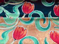 "Black Orange Rust Red Tulip Fabric Craft Cotton Fabric - Width Approx. 112cm/44"""