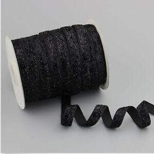 """wholesale 50-100yds 3/8""""10mm Sparkle Glitter Velvet Ribbon Headband"""