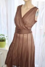 AJ Principles brown belted sleeveless skater midi party floaty dress size 12uk