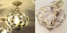 1950s Italian Tole Birdcage Ball Chandelier White Gold Leaves Light Fixture Lamp