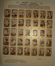 1940 Famous American Poster Stamps - Approved by National Poster Stamp Society
