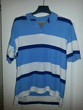 Austin Clothing Co Short Sleeve Polo Shirt Sz M Blue White Striped 100% Cotton
