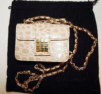 Dsquared2 Beige Croc Leather Gold Chain Mini Crossbody Bag