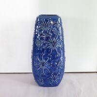 Very Large Floral Blue Glaze W.Germany Vase