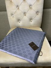 BNWT Authentic GUCCI GG Guccissima Square Shawl Scarf 140x140 cm - Pearl Grey
