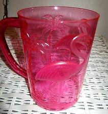 PINK FLAMINGO MUG Hawaiian Party Goblet Plastic Glass Pool Friendly Luau