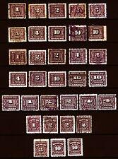 Canada #J1-#J20 Postage Due 1906-65 M/U Lot 33 items