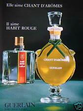 PUBLICITÉ DE PRESSE 1967 HABIT ROUGE PAR GUERLAIN IL AIME - PARFUMEUR A PARIS