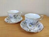 Colclough Bone China  Pair (2) of Tea Cup & Saucers   Rhapsody In Blue