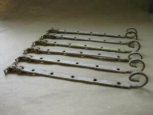 Set of 6 Vintage or Antique Window Stays ~ Wrought Iron Monkey Tail