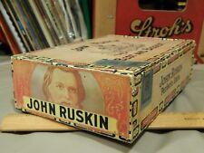 John Ruskin ~ The Best and Biggest 6c Wood CIGAR BOX ~ New Jersey_Alabama Vtg