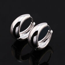 Smooth 9K White Gold Filled Womens/Girls Hoop Earrings,Z5147