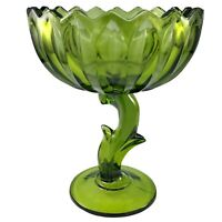 Indiana Glass Lotus Blossom Pedestal Bowl Olive Green Compote Flower Stemmed Vtg