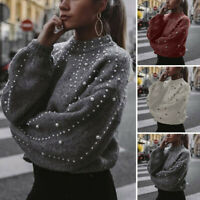 Women Pearl Beads Knitted Long Sleeve Jumper Turtleneck Pullover Sweater Coat CZ