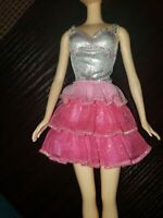Mattel Barbie Spa to Fab Barbie Doll Silver And Pink Ruffle Dress Replacement