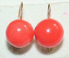 ANTIQUE ART DECO UK 9K GOLD 8.5mm CABOCHON REAL SALMON CORAL ONE STONE EARRINGS