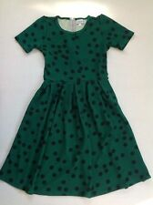 SMALL LuLaRoe Amelia dress green polkadot dot dots black asymetrical UNICORN S