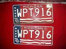 Pair Michigan License Plates 76 tag 78 WPT916 Bi-Centennial Red White Blue Alum