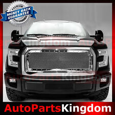 15-16 Ford F150 Direct Replacement Rivet+Chrom Front Hood Mesh Grille+Shell 2017