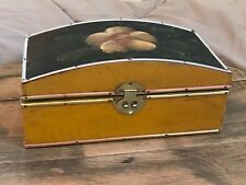 Vintage Wooden Domed Jewellery Box With Flower Design on Lid Brass Catch