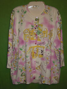 NY Collection size 1X cardigan sweater ramie cotton blend 3/4 sleeve floral