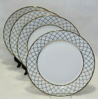 Ciroa Luxe Lattis Gold Metallic Accent Porcelain Dinner Plates Set of Four New