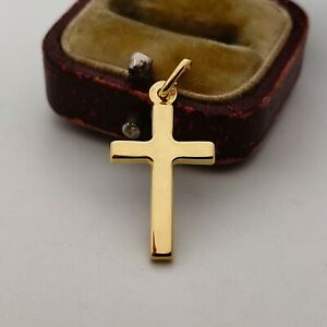 18ct yellow gold plain cross pendant charm for necklace, 750 18k