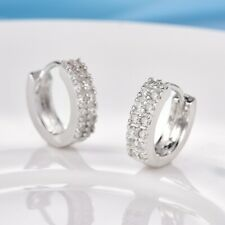 Charming Women White Sapphire Crystal Silver Round Hoop Earrings Jewelry Gift