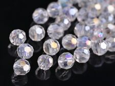 72pcs 8mm Round Faceted Crystal Glass Jewelry Charms Loose Spacer Beads Clear AB