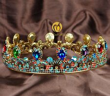 Charming Wedding Round Tiara Crown Colorful Crystals Women Bridal Pageant Party