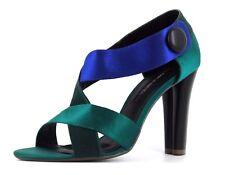 Errol Arendz Womens UK 5 EU38 Aqua Blue & Turquoise Green Satin High Heel Shoes