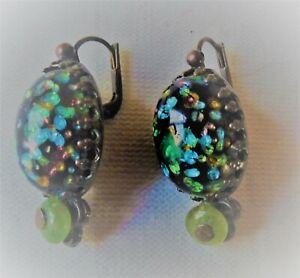Boucles d'oreilles vintage GAS en métal argenté et verre