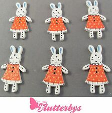 6 Bunny Rabbit Wooden Buttons Red , 36mm x 20mm, Children Knitting Sewing Girls